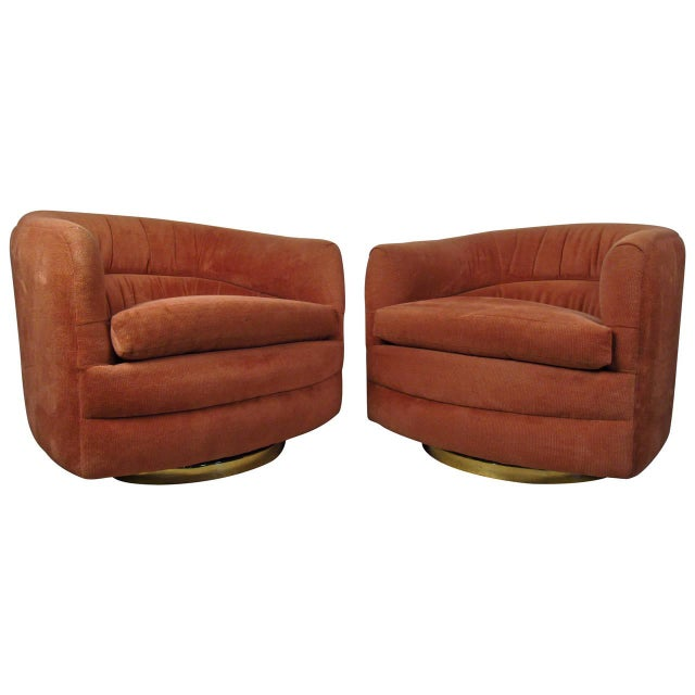 Textile Milo Baughman for Thayer Coggin Swivel Tub Chairs - A Pair For Sale - Image 7 of 7
