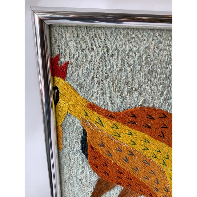 1970s Large Embroidered Turkey Wall Hanging For Sale - Image 5 of 8