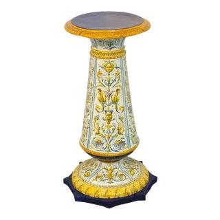 Italian Renaissance Style Majolica Pedestal by Achille Mollica For Sale