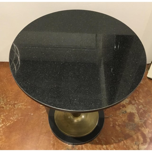 Currey & Company Currey and Co. Modern Black Marble and Antique Brass Side Table For Sale - Image 4 of 5