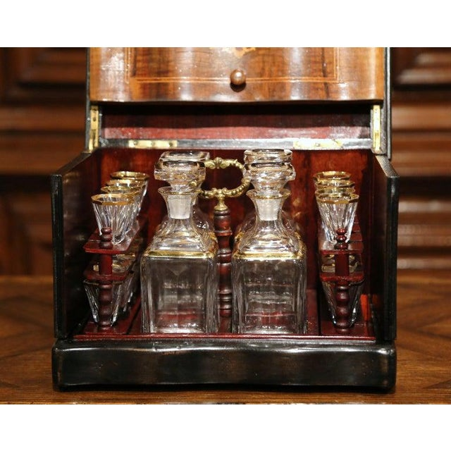 French 19th Century French Napoleon III Walnut Cave a Liqueur With Inlay Marquetry For Sale - Image 3 of 12