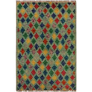 1990s Vintage Balouchi Albina Green/Blue Wool Rug - 3′2″ × 4′11″ For Sale