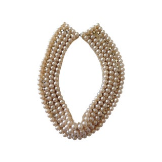 Antique Pearl and Rhinestone on Satin Bib Necklace
