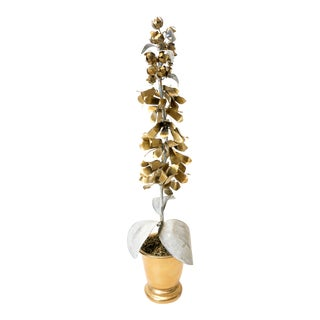 Signed and Hand Painted Tommy Mitchell Hollyhock Tole Flower in Gold and Zinc Finish