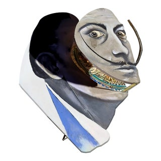 """Patrick Briggs """"Sir Real Mask"""" 2021 Original Hand-Painted Sculpted Side Table After Salvador Dali For Sale"""