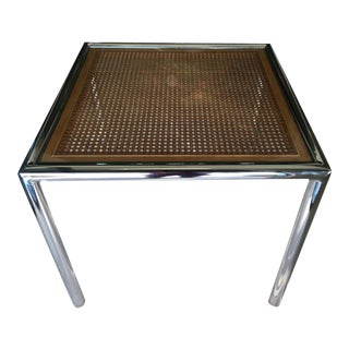 Milo Baughman Cane & Chrome End Table