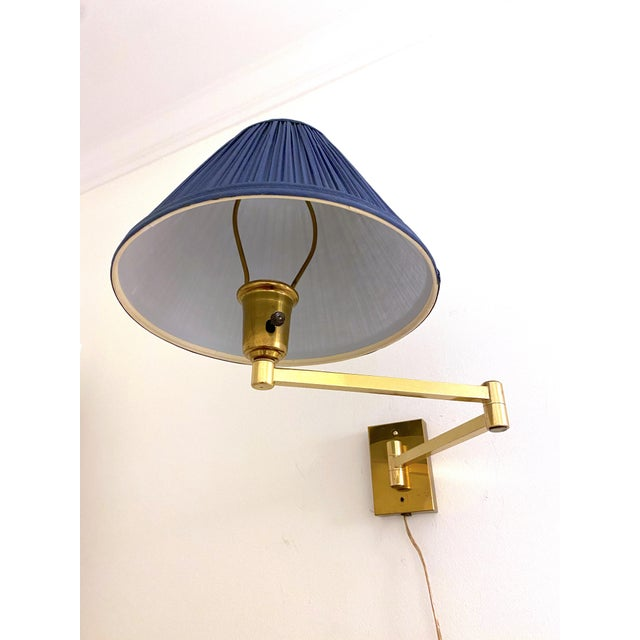 Vintage Double Swing Arm Brass Wall Lamps in the Manner of Hinson - a Pair For Sale In Charleston - Image 6 of 13