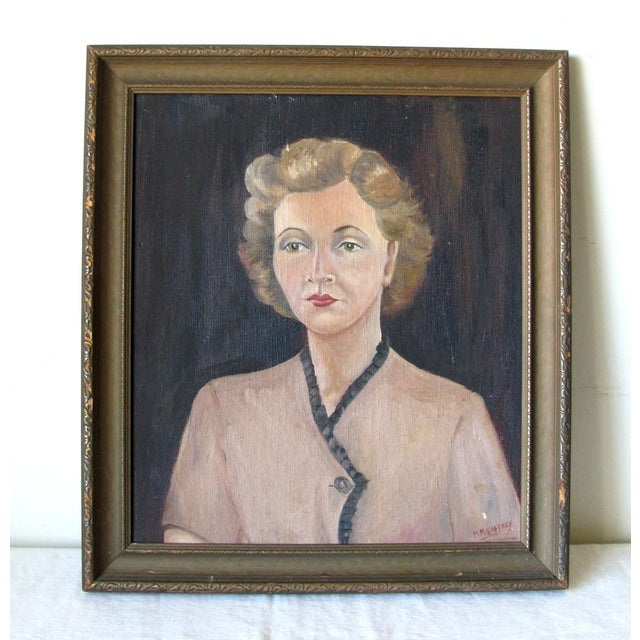 1940s Woman Oil on Board Painting - Image 2 of 5