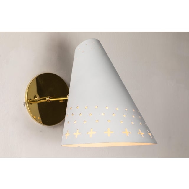 1950s Danish Perforated Sconces Attributed to Bent Karlby - a Pair For Sale - Image 9 of 13
