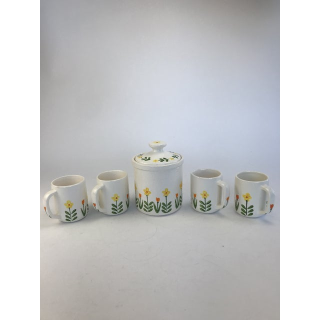 White 1960's Japanese Coffee Cups and Canister - Set of 5 For Sale - Image 11 of 11