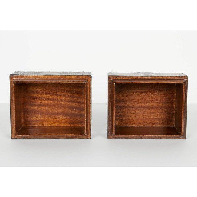 Wood Pair of R & Y Augousti Decorative Boxes in Exotic Ostrich Leather With Bone Inlay For Sale - Image 7 of 13