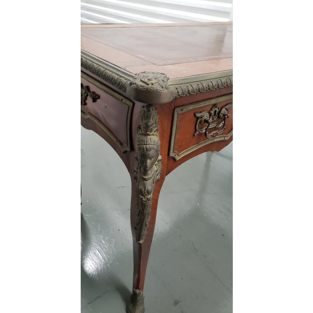 Metal French Louis XV Style Bureau Plat With Embossed Leather Top and Bronze Ormolu Mounts C.1940 For Sale - Image 7 of 8