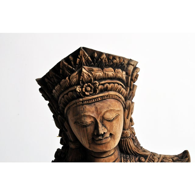 Southeast Asian Wood Carving Model of a Goddess For Sale - Image 9 of 13