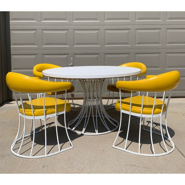 Mid-Century Modern Tulip Base Dining Table & Chairs by Blacksmith Shop For Sale - Image 13 of 13