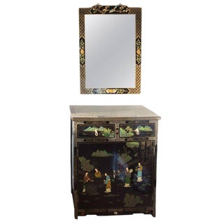 Mid-Century Modern Ebony Chinoiserie Dry Bar With Mirror