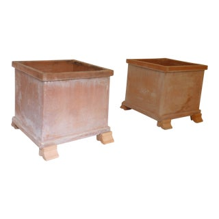 Vintage Tuscan Enzo Zago Terra Cotta Planters - a Pair For Sale