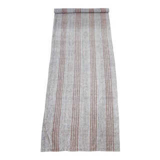 Vintage Turkish Flat-Weave James Rug Brown Gray With Coral Stripes For Sale