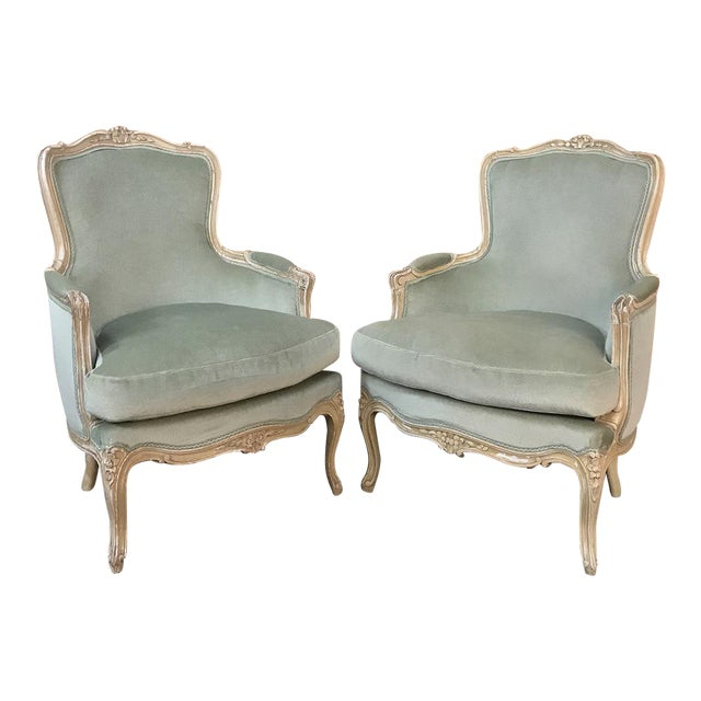 Pair 19th Century French Louis XV Bergeres ~ Armchairs For Sale