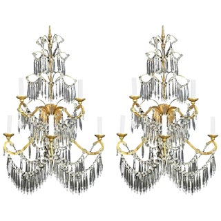 Massive Pair of Baltic Russian Style Crystal Sconces For Sale