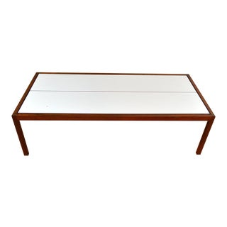 Knoll Walnut and Laminate White Coffee Table For Sale