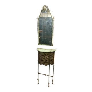 Oscar Bach Marble Top Bronze Stand & Mirror - 2 Pc. Set For Sale