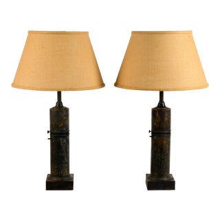 French Empire Column Lamps - a Pair For Sale
