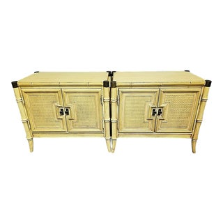 Stanley Faux Bamboo + Brass Accents Nightstands - a Pair For Sale