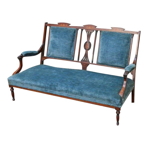 Edwardian Inlaid Mahogany Settee With Blue Upholstery, Needs Restoration For Sale