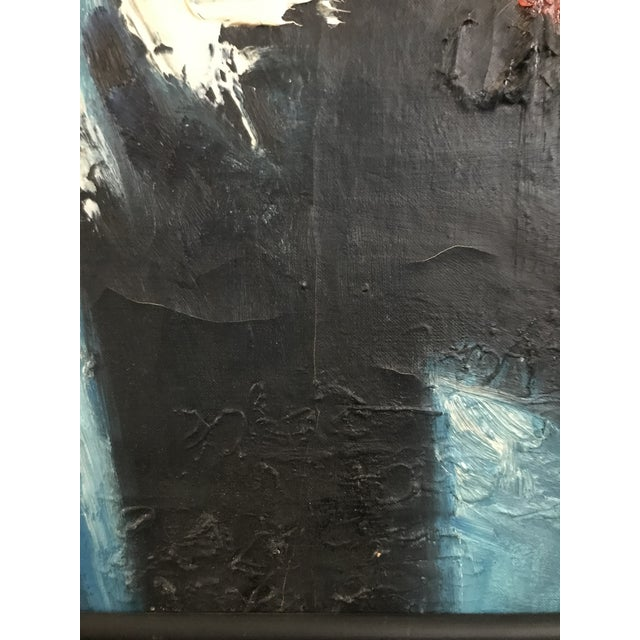 Vintage Mid-Century Modern Abstract Oil Painting Signed For Sale - Image 4 of 11