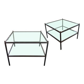 Pair of Industrial Iron and Glass Side Tables For Sale