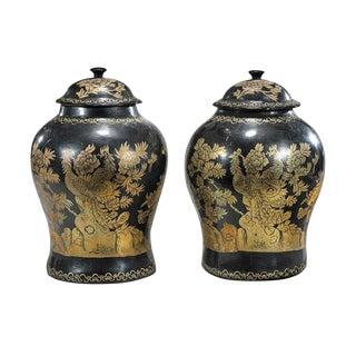 1950s Chinese Black Papier Mache & Gilt Lacquer Vases - a Pair For Sale