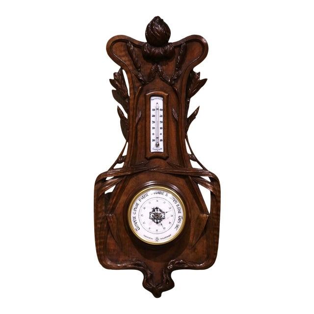 19th Century French Black Forest Carved Walnut Barometer With Foliage Decor For Sale