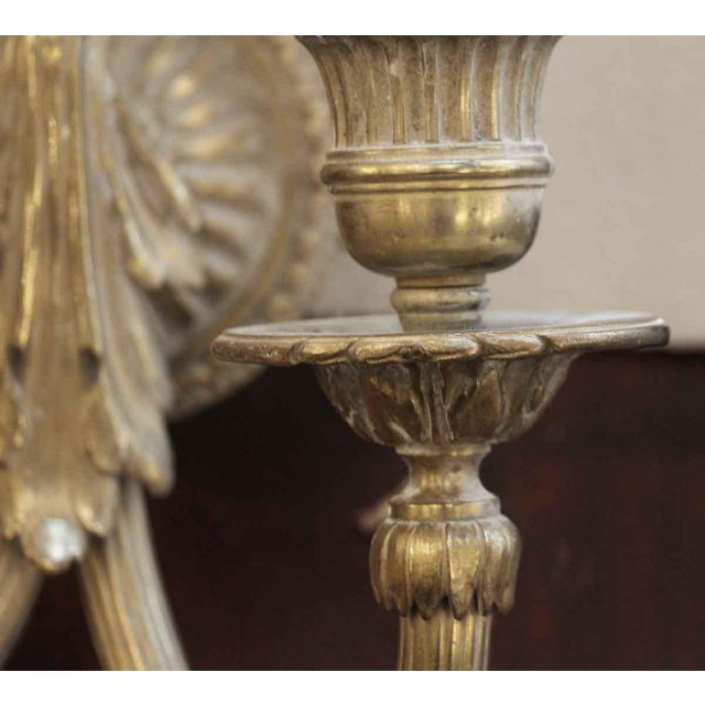 French Antique Single Cast Brass Two Arm Sconce For Sale - Image 3 of 8