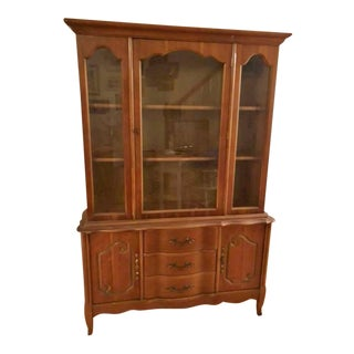 1950's Vintage French Provincial China Hutch For Sale