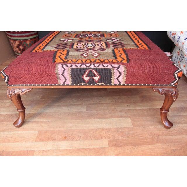 Kilim Upholstered Ottoman Coffee Table 11