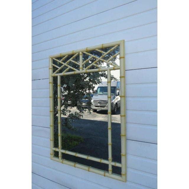 Hollywood Regency Faux Bamboo Distressed Painted Large Mirror For Sale - Image 10 of 13