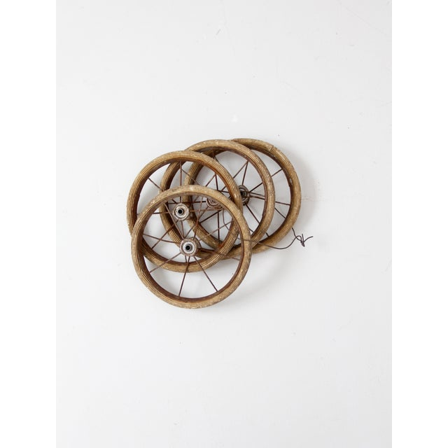 Rustic Vintage Doll Carriage Wheels - Set of 4 For Sale - Image 3 of 7