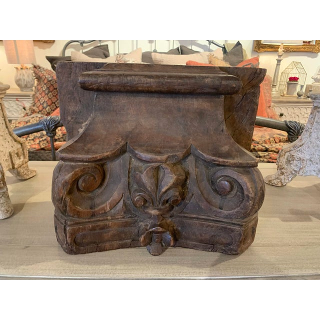 Indian English Colonial Indian Carved Teak Column Base Architectural Element C 1880 For Sale - Image 3 of 13