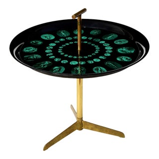 Piero Fornasetti Rare Tripod and Brass Serving Table, 1950s For Sale