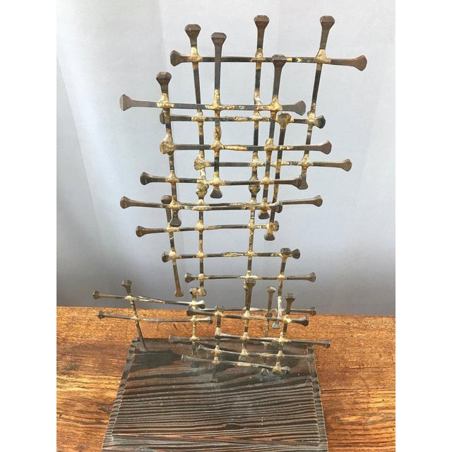 Abstract Midcentury Large Brutalist Abstract Nail Art Sculpture For Sale - Image 3 of 12