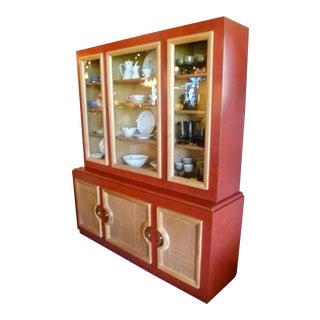 Mid Century Modern Buffet / Breakfront in Faux Red Leather Finish, 1940s. For Sale