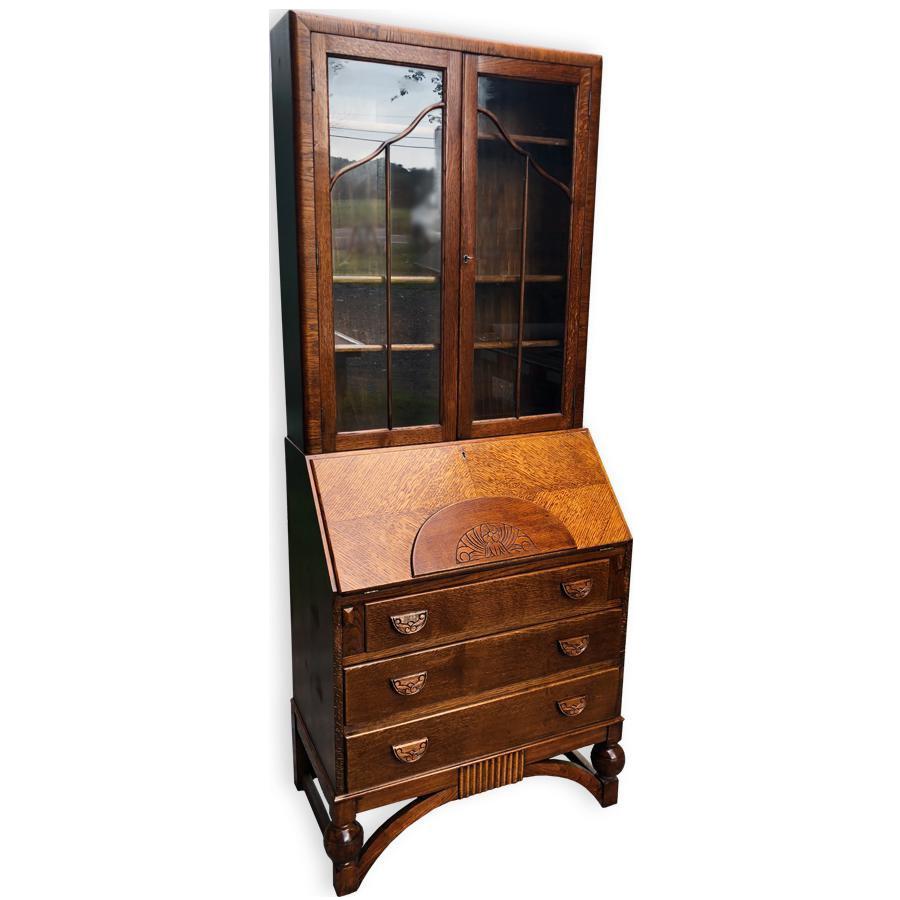 Antique English Art Deco Carved Oak Drop Front Secretary Desk