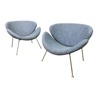 """Pair of Vintage Mid Century Modern """"Orange Slice"""" Lounge Chairs by Pierre Paulin for Artifort. For Sale"""