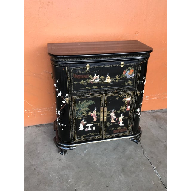 Black Lacquer and Inlay Hardstone Chinese Dry Bar For Sale - Image 8 of 8