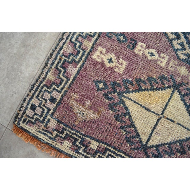 Antiaque Kurdish Rug Distressed Low Pile Yastik Petite Rug Low Pile Faded Mat - 20'' X 32'' For Sale In Raleigh - Image 6 of 6
