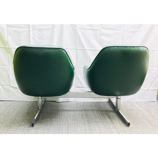 Industrial Mid-Century Modern Dark Green Leatherette Tandem Seat For Sale - Image 3 of 12