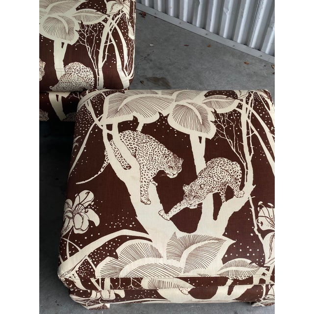 Amazing pair of vintage cheetah print ottomans. The image of the cheetahs is so well don't. Large and impressive. Acquired...