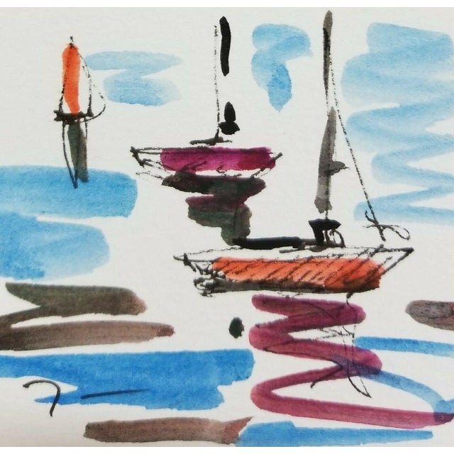 Jose Trujillo Original Signed Small Sailboats Watercolor Painting For Sale