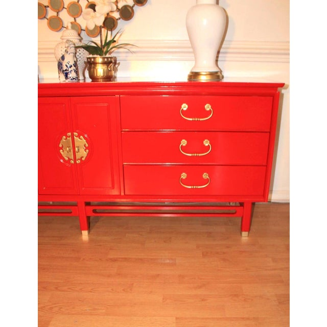 Lacquer Basset Chinoiserie Red Lacquered Dresser Credenza For Sale - Image 7 of 10
