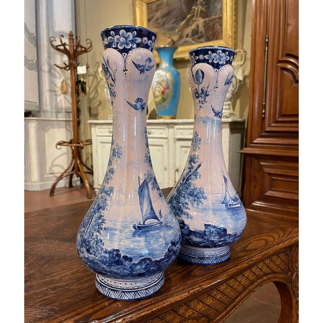 Pair of 19th Century French Delft Style Faience Vases With Blue and White Decor For Sale - Image 4 of 13